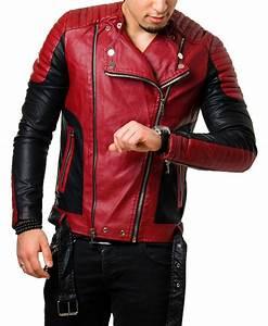 Veste En Cuir Rouge Homme : perfecto homme simili cuir rouge et noir pas cher tam ~ Melissatoandfro.com Idées de Décoration