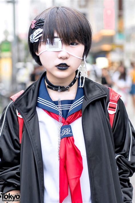 japanese school uniform demonia striped socks momoclo winged backpack  harajuku tokyo