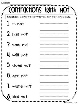 Contractions With Not Worksheet By Whitney Gulledge  Teachers Pay Teachers