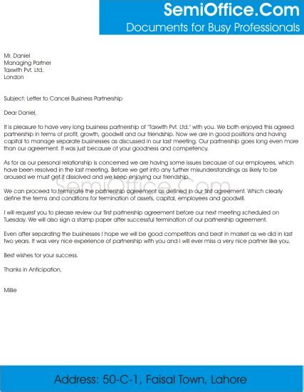 letter  cancel business partnership