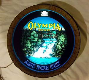 Vintage Olympia Beer Barrel Head Electric Light  Sign With