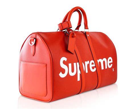 louis vuitton  supreme red epi keepall bandouliere duffle bag   stdibs