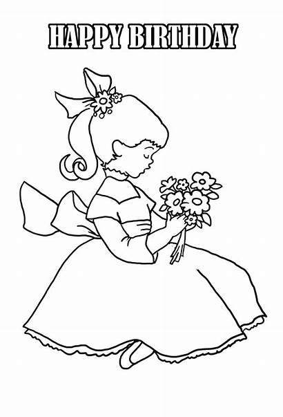 Coloring Birthday Pages Flowers
