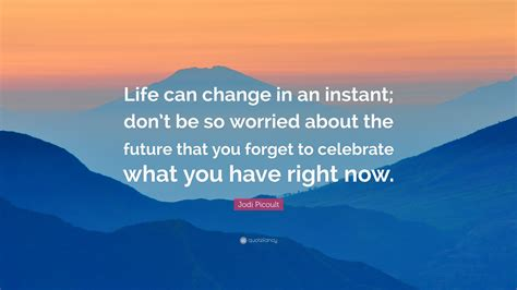 jodi picoult quote life  change   instant dont