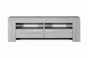 Meuble Chene Gris : meuble tv en bois ch ne gris clair 2 portes 2 niches pour salon ~ Teatrodelosmanantiales.com Idées de Décoration