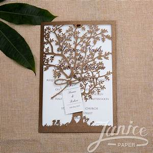 wholesale laser cut wedding invites With tree slice wedding invitations