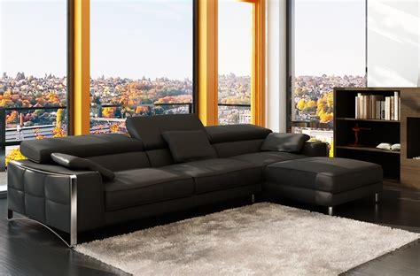 canape angle cuir noir canap mobilier privé