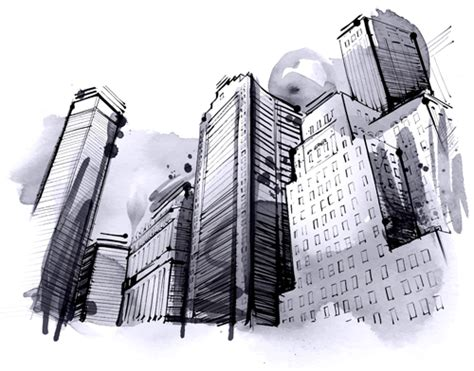 hand drawn city outline vector set  vector