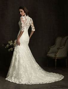 vintage lace wedding dress with 3 4 length sleeves sang With vintage wedding dresses with sleeves