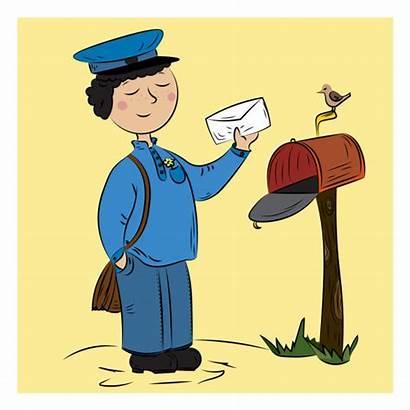 Office Box Clip Illustrations Vector Postman