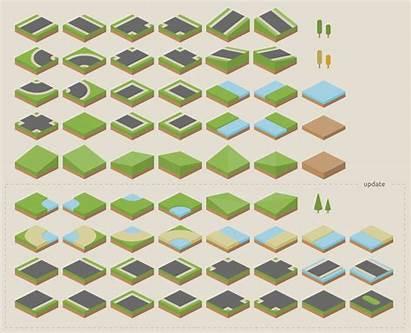 Isometric Tileset Terrain Pixel Grid Vector Clean