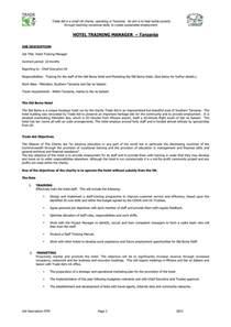Hotel Training Manager Job Description