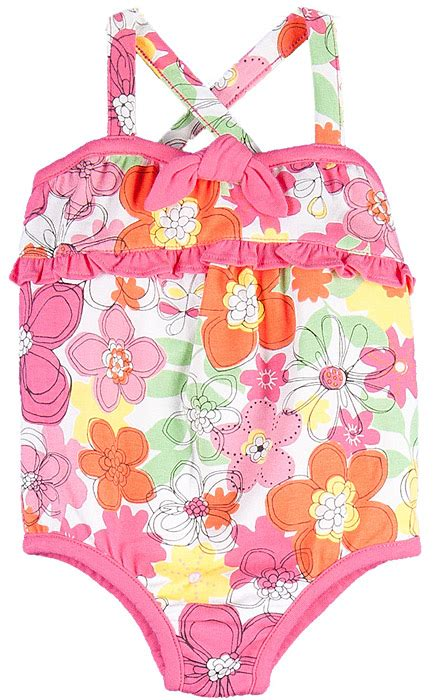 le top baby girls pink crazy daisy  piece bathing suit