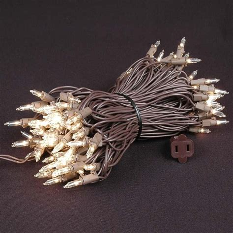 clear wire christmas lights clear christmas mini lights set 100 light brown wire 50