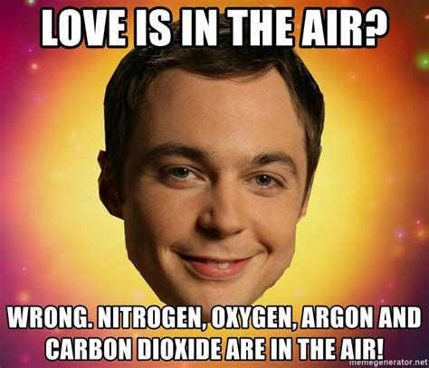 Love Is In The Air Meme - love is in the air wrong nitrogen oxygen argon and carbon dioxide are in the air sheldon