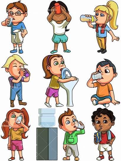 Drinking Water Clipart Cartoon Child Vector Children