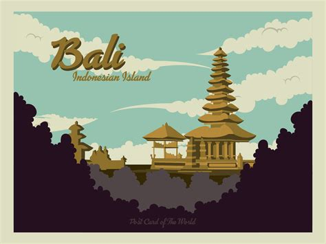 bali postcard vector   vector art stock