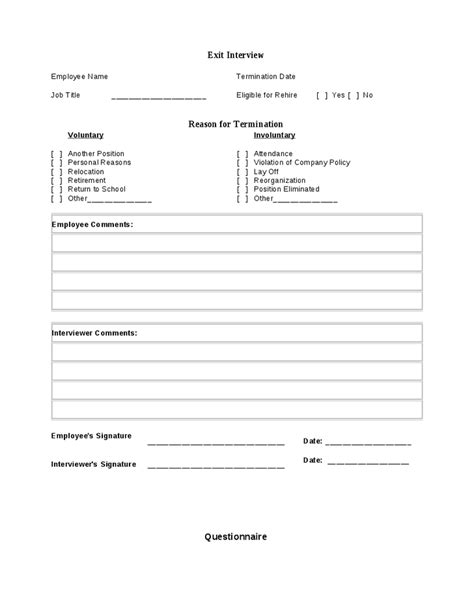 Free Employee Exit Template by Exit Form Hashdoc