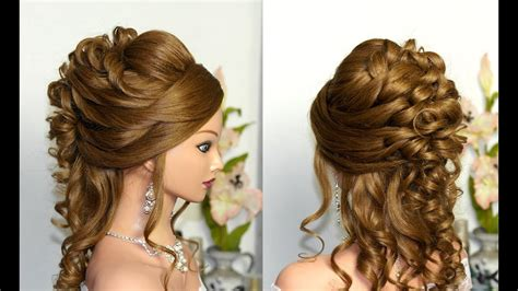 curly wedding prom hairstyle  long hair youtube