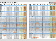 Kalenderwochen 2017 mit Vorlagen für Excel, Word & PDF