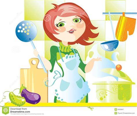 femme a la cuisine femme sur la cuisine photographie stock libre de droits