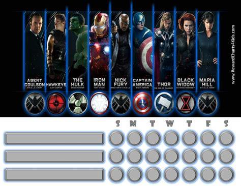 marvel avengers charts customizable printable