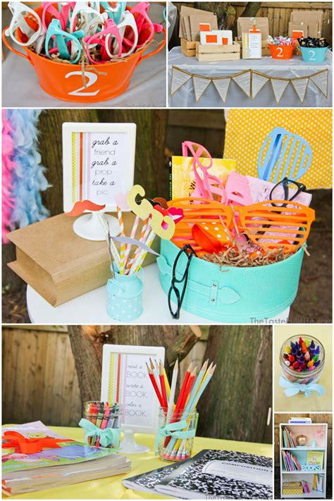 adorable chapter  book themed birthday party pizzazzerie