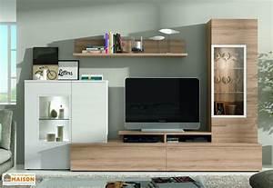 Meuble Haut Salon : ensemble meuble tv mural dublin 2 coloris ramis ~ Teatrodelosmanantiales.com Idées de Décoration