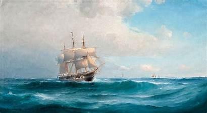 Oil Painting Ship Wallpapers Ocean 4k Sea