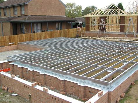 spantec steel ground floor fully engaged isolated brick piers steel house steel frame