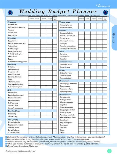 9 Best Images Of Wedding Budget Planner Printable Free