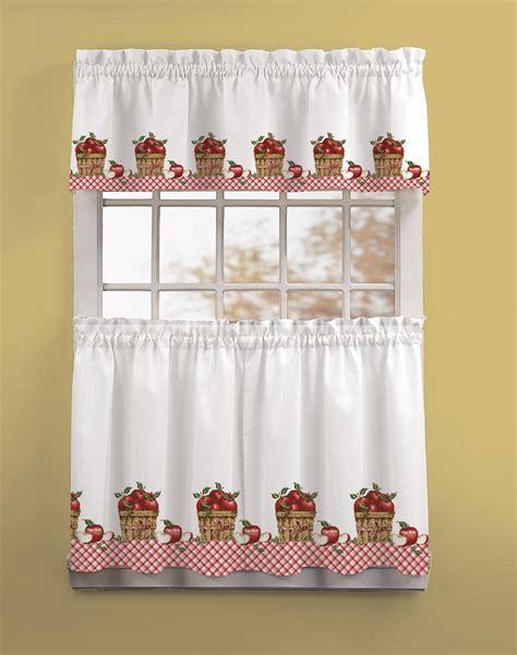 apple curtains apple picking 3 piece kitchen curtain tier set curtainworks com