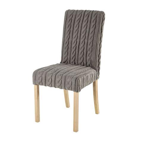 housse de chaise tricot 233 e grise margaux maisons du monde