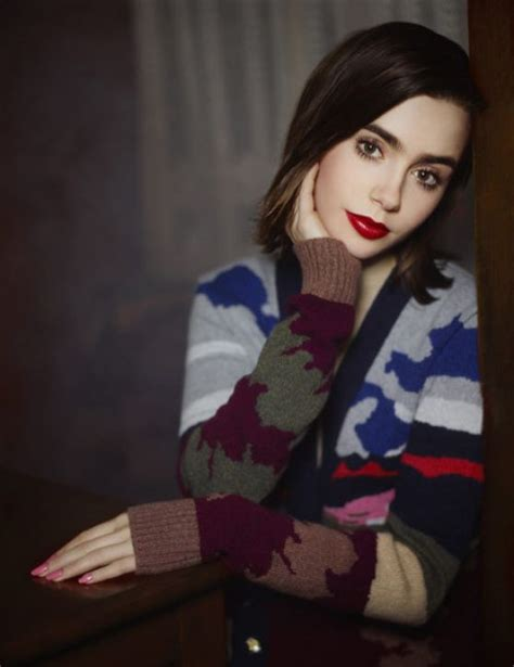 Lily Collins Photoshoot - Barrie Knitwear Collection 2014 ...