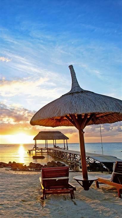 Tourism Mauritius Travel Ocean Beach Sunset Indian