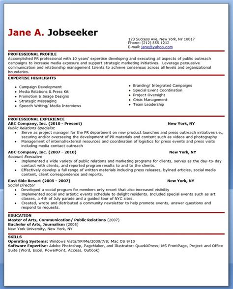 public relations sample resume sample resume for public relations officer creative