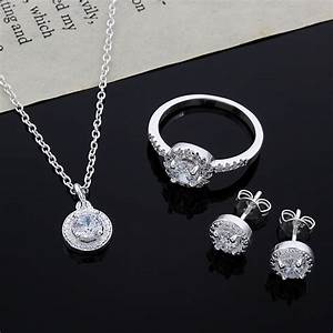 Fashion wedding engagement jewelry sets silver pendant for Wedding ring necklace