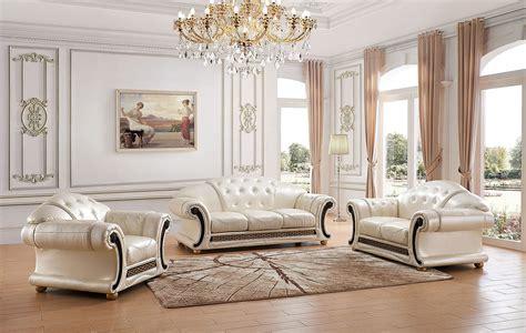 esf apolo classic living room set  pearl italian leather