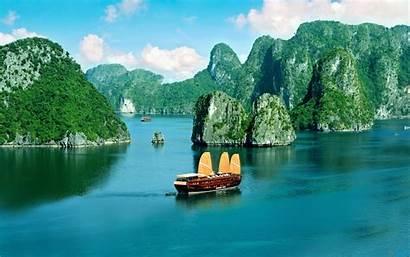 Vietnam Bay Halong Ha Boat Wallpapers Landscape