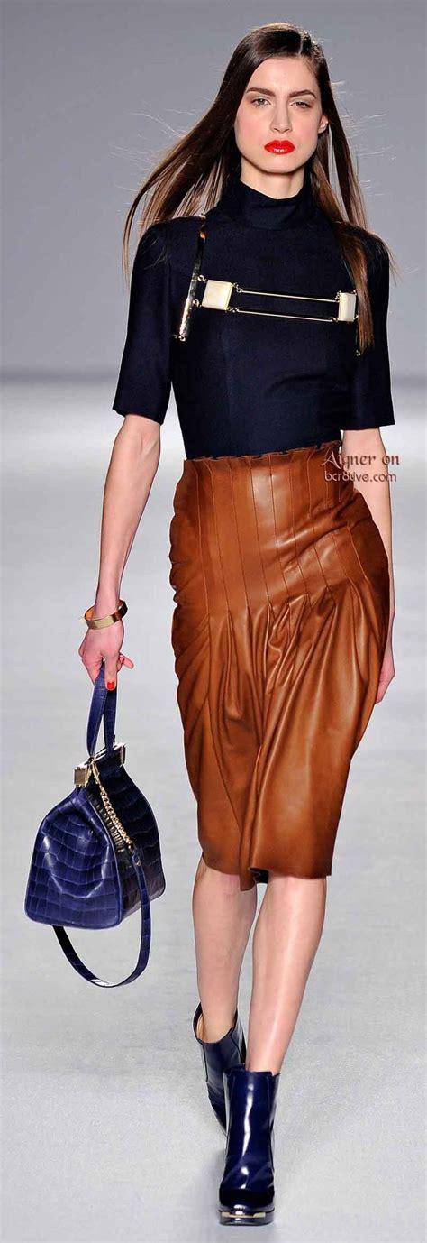 aigner batik polos leather orange aigner fall winter 2014 15 collection copper pleated