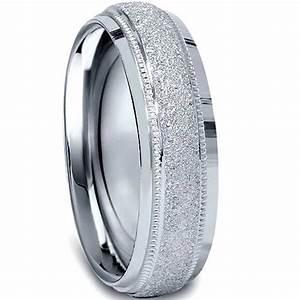 10K White Gold 6mm Textured Mens Wedding Band