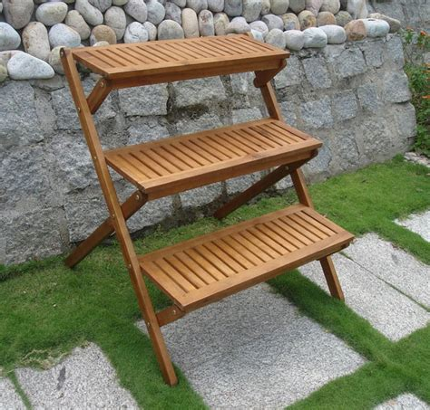 Wooden Patio Plant Stands by Acacia Wood Outdoor Plant Stand