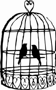 Birdcage Lovebirds Grey Clip Art at Clker.com - vector ...