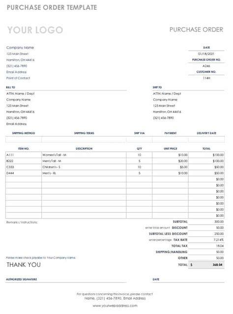 purchase order templates smartsheet
