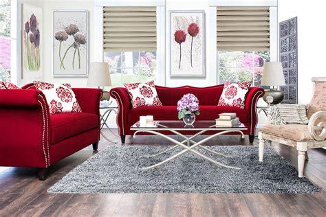zaffiro ruby red living room set sm sf furniture