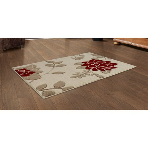 B And M Rugs by B Amp M Gt Red Floral Carved Rug 110 X 160cm 291475