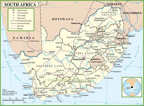 printable map  south africa south africa political map