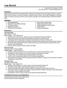 Personal Resume Template Personal Trainer Resume Sle Ilivearticles Info