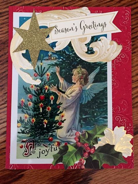 anna griffin inspired vintage angel christmas card