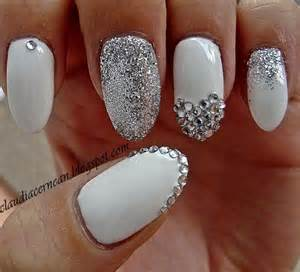 Bling see more about white sparkle nails silver and nail